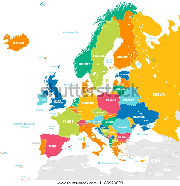 Vector Map European Continent Countries Capitals Stock ...