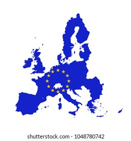Vector map of European Union combined with EU flag.