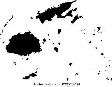 Vector map Fiji. Black mask. Isolated, white background.