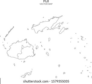 vector map of Fiji on white background