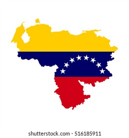 Vector Map And Flag Of Bolivarian Republic Venezuela With White Background