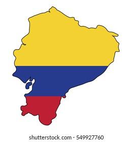 Vector map of the flag of the Ecuador