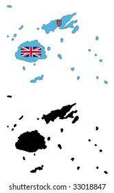 vector map and flag of Fiji with white background.