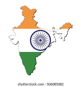 Vector map of the flag of the India