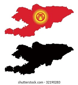 vector map and flag of Kyrgyzstan with white background.