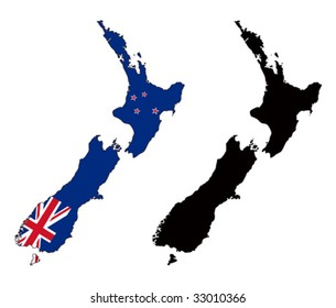 vector map and flag of new zealand with white background.