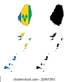 vector map and flag of Saint Vincent and the Grenadines with white background.