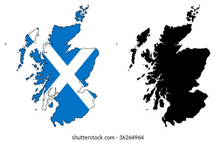 vector map and flag of scotland.