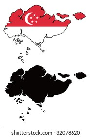 vector map and flag of Singapore with white background.