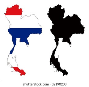 vector map and flag of Thailand with white background.