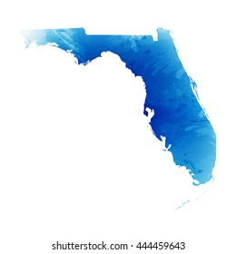 Vector map Florida. Isolated vector Illustration. Watercolor effect. EPS 10 Illustration.
