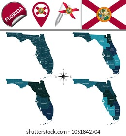 Vector map of Florida with named regions and travel icons