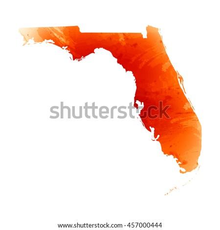 Watercolor Florida Map.Vector Map Florida Orange Watercolor Effect Stock Vector Royalty
