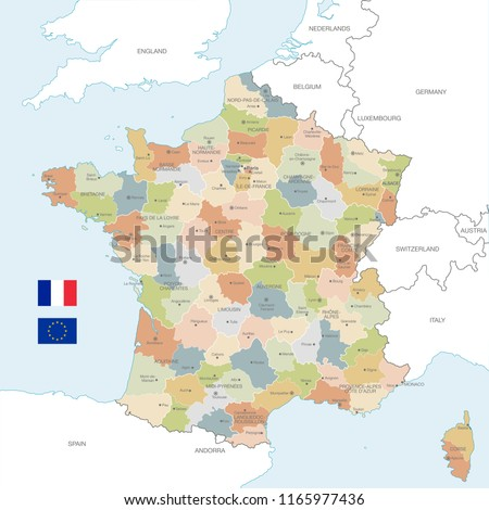 City Map Of France.Vector Map France Administrative Borders City Stock Vector Royalty