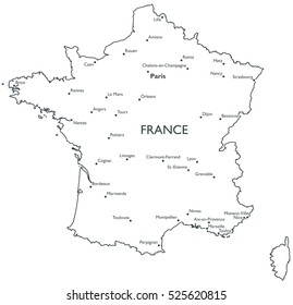 The Map Of France With The City.France Map Images Stock Photos Vectors Shutterstock