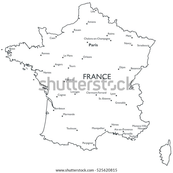 Map Of France With City Names.Vector Map France Monochrome Contour Map Stock Vector Royalty Free