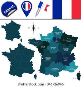 Vector map of France with named regions and travel icons. According to the law in 2014 by French Parliament that reduced the number of regions from 22 to 13.