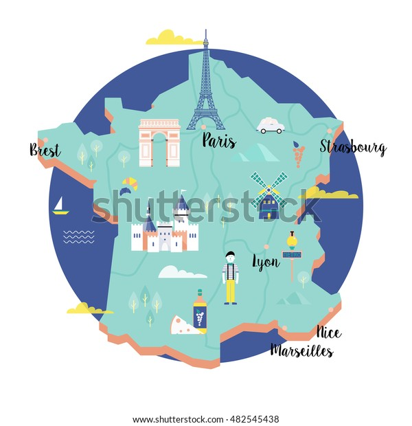 Vector Map France Retro Style Landmarks Arkistovektori