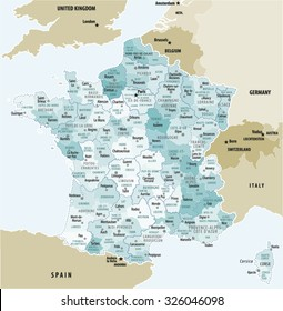 Vector Map Of France.Source for map is a site University of Texas Libraries with educational resources free for use.