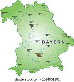 Vector map of the free state of Bavaria, southern Germany, Munich