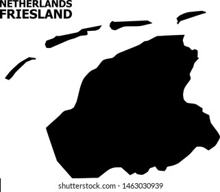 Vector Map of Friesland Province with name. Map of Friesland Province is isolated on a white background. Simple flat geographic map.
