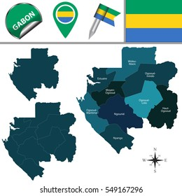 Vector map of Gabon with named provinces and travel icons