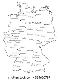Vector map of Germany   Monochrome contour map with city names