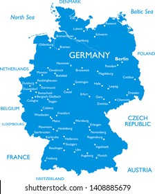 Vector map of Germany | Outline detailed map with city names