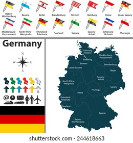 Vector map of Germany with regions and flags