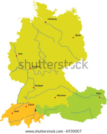 Vector Map Germany Switzerland Austria Liechtenstein Stock ...