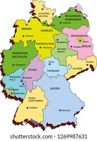 vector map of germany,germany map,map drawing, Germany map colored, province and border lines, country maps, maps