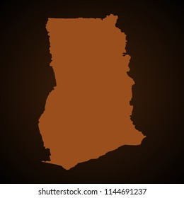 Vector map of ghana  light brown color isolated on a needle brown background