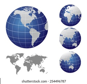 Vector Map and Globe of the World