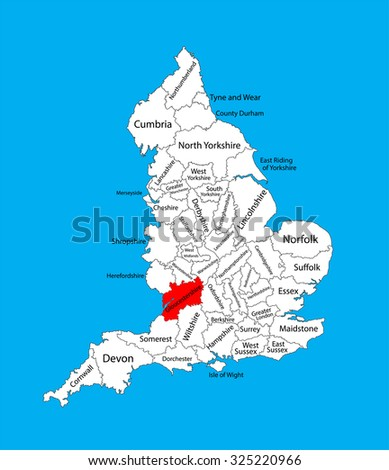 Map Of England Gloucestershire.Vector Map Gloucestershire South West England Stock Vector Royalty