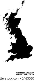 Vector Map of Great Britain with caption. Map of Great Britain is isolated on a white background. Simple flat geographic map.