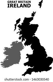 Image vectorielle Carte de la Grande-Bretagne et de l'Irlande avec légende. Carte de Grande-Bretagne et d'Irlande est isolée sur fond blanc. Carte géographique simple et plane.