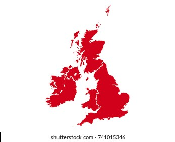 Vector map of Great Britain and Ireland