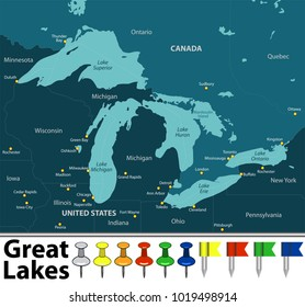 Vector map of Great Lakes with countries, big cities and icons