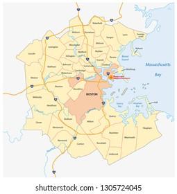 vector map of the Greater Boston metropolitan region, Massachusetts, united states