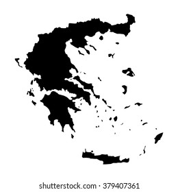 Vector map Greece. Isolated vector Illustration. Black on White background. EPS Illustration.