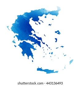 Vector map Greece. Isolated vector Illustration. Watercolor effect. EPS 10 Illustration.