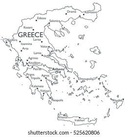 Vector map of Greece | Monochrome contour map with city names