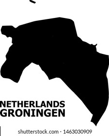 Vector Map of Groningen Province with title. Map of Groningen Province is isolated on a white background. Simple flat geographic map.
