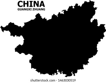Vector Map of Guangxi Zhuang Region with caption. Map of Guangxi Zhuang Region is isolated on a white background. Simple flat geographic map.