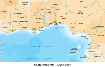 vector map of the Gulf of Guinea in West Africa