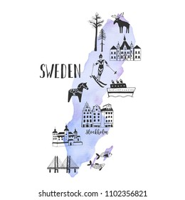 Vector map with hand drawn illustrations of famous sightseeings, places and landmarks of Sweden