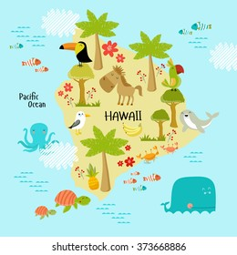 Vector map of Hawaii with the animals that live on the islands.  Parrot, gull, toucan, crab, fish, turtle, octopus, palm trees, flowers, bananas. It can be used for teaching illustration for children.