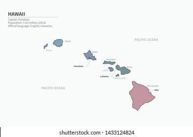 vector map of hawaii island, usa. usa map.