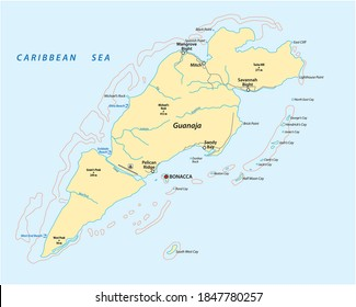 vector map of the Honduran Caribbean island of Guanaja, Honduras