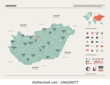 Vector map of Hungary.  High detailed country map with division, cities and capital Budapest. Political map,  world map, infographic elements.